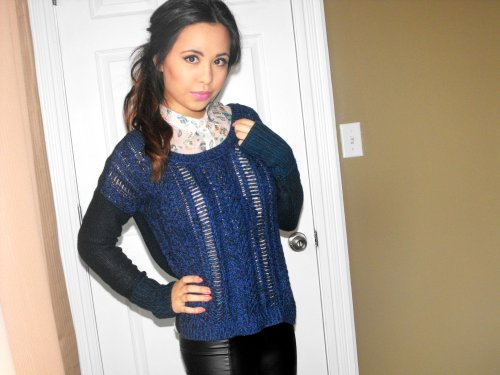 Sweater: American Eagle - Button up shirt: Ardene - Lipstick: Revlon's Super Lustrous' Primrose in 668