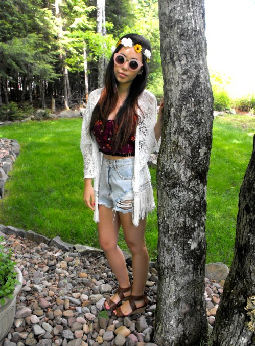 Flower Crown: NastyGal - Sunglasses: Asos - Cardigan: Marshalls - Shirt: Garage - Shorts: Garage - Sandals: Wal-Mart