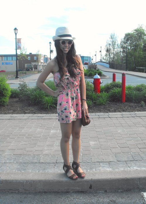 Romper: Marshalls - Hat:  Wal-Mart (Super Cheap!) - Satchel: Spring - Shoes: Wal-Mart (Also very cheap!) - Sunnies: Asos