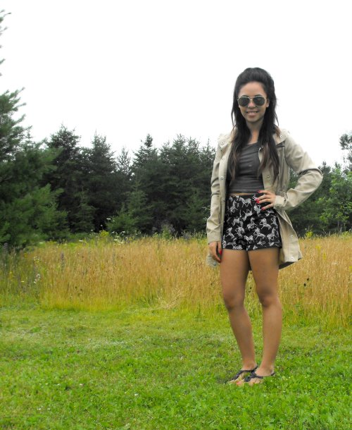 Shirt & Shorts: Garage - Jacket: Vera Moda - Shoes: American Eagle - Sunglasses: Sunglasses Hut